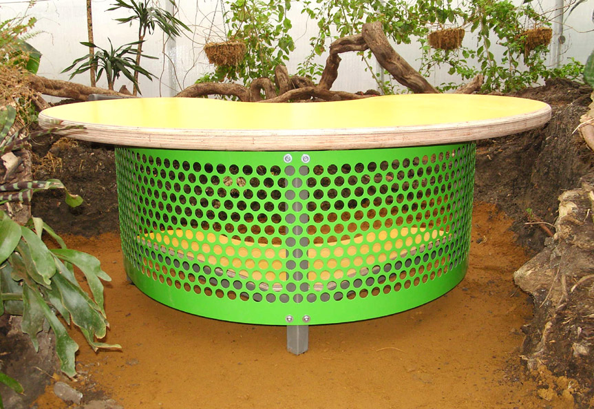 Laminated marine plywood desktop with powder coated legs and grille