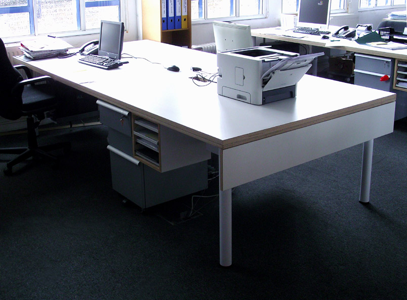 Laminated plywood workstation with undermounted document tray