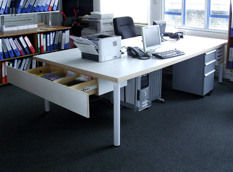 Laminated plywood workstation with storage drawer