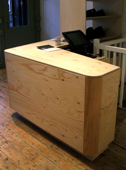 Spruce faced plywood and pine cash desk