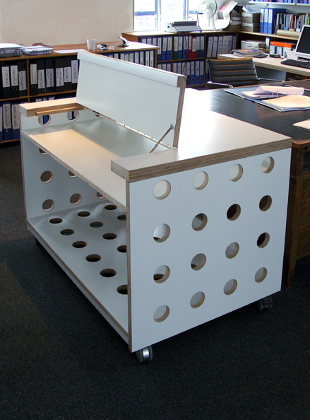 Laminated plywood server cabinet with hinged access panel